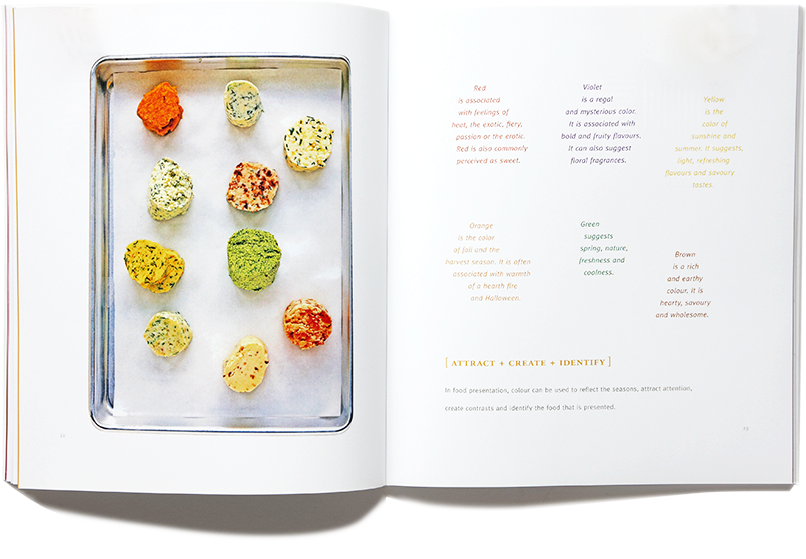 Interior page spread showing colorful text mirroring colorful food presentation
