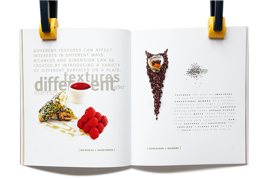 Interior page spread showing food texture with accompanying type designed to show texture